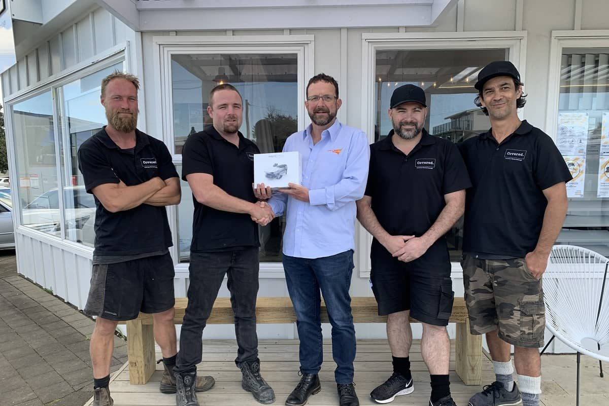 Our Drone Competition Winners: Tony, Riki, Ryan and Boss from Covered with Grant from Rainbow Shade NZ