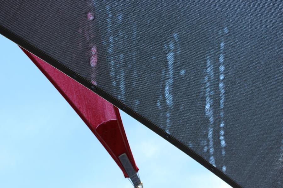 Heat damaged shade sail
