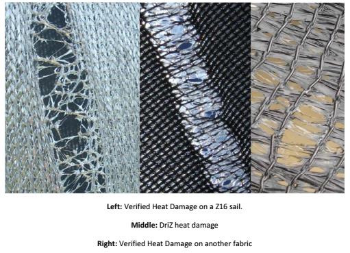 Heat damaged shade sails