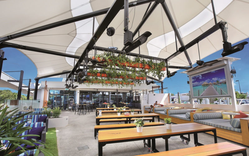 Mehler FR-580 Premium PVC Textiles used for Coolum Beach Hotel Architectural Shade Structure