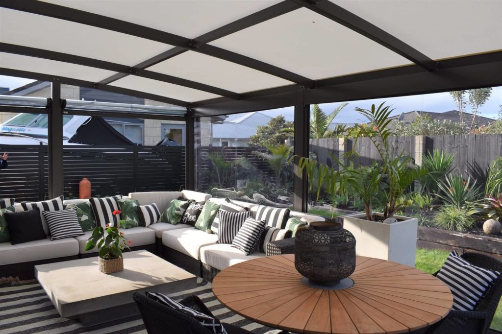 Ziptrak clear PVC blinds with canopy - by Aquilo Fabrication in the Whitianga Waterways
